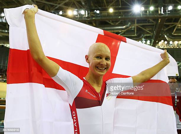 Joanna Rowsell of England celebrates winning gold after the Women's 3000 metres Individual Pursuit final at Sir Chris Hoy Velodrome during day two of...