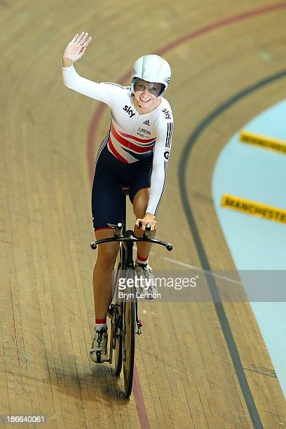 Joanna Rowsell of Great Britain celebrates winning gold in the Women's Individual Pursuit on day two of the UCI Track Cycling World Cup at Manchester...