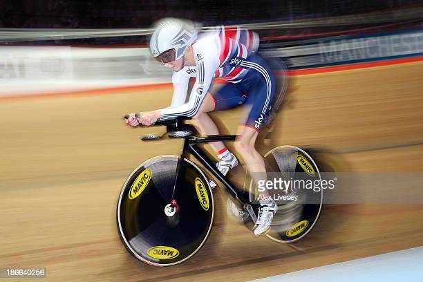 Joanna Rowsell of Great Britain on her way to winning gold in the Women's Individual Pursuit on day two of the UCI Track Cycling World Cup at...