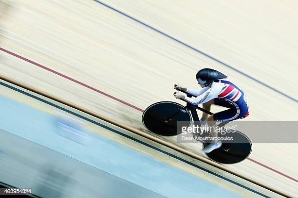 Joanna Rowsell of the Great Britain Cycling Team competes in the Womens Individual Pursuit Qualifying race during day 3 of the UCI Track Cycling...