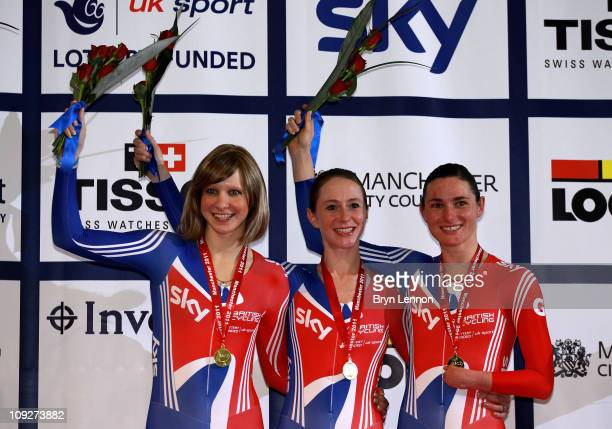 Joanna Rowsell Wendy Houvenaghel and Sarah Storey of Great Britain celebrate with their Gold medals after winning the Women's Team Pursuit Final...