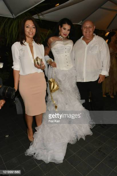 Joanna Saurat Lamia Khashoggi and Alfredo Galullo attend the Massimo Birthday Party On French Riviera on August 19 2018 in SaintTropez France