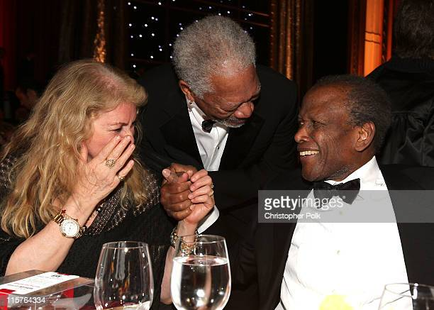 Joanna Shimkus, 39th Life Achievement Award recipient Morgan Freeman and actor Sidney Poitier in the audience at the 39th AFI Life Achievement Award...
