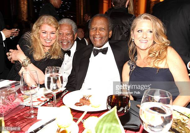 Joanna Shimkus, 39th Life Achievement Award recipient Morgan Freeman, actor Sidney Poitier and Producer Lori McCreary in the audience at the 39th AFI...