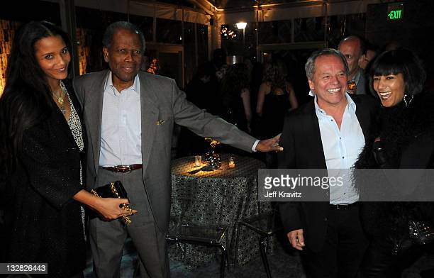 """Joanna Shimkus, actor Sidney Poitier chef Wolfgang Puck and Gelila Assefa attend Los Angeles premiere of HBO's """"His Way"""" after party at Paramount..."""