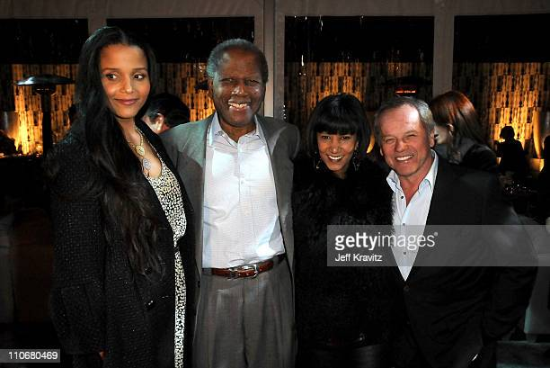 """Joanna Shimkus, actor Sidney Poitier Gelila Assefa and chef Wolfgang Puck attend Los Angeles premiere of HBO's """"His Way"""" after party at Paramount..."""