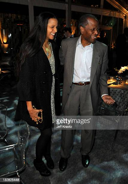 """Joanna Shimkus and actor Sidney Poitier attend Los Angeles premiere of HBO's """"His Way"""" after party at Paramount Studios on March 22, 2011 in..."""