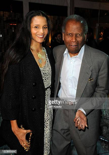 Joanna Shimkus and actor Sidney Poitier attend Los Angeles premiere of HBO's His Way after party at Paramount Studios on March 22 2011 in Hollywood...