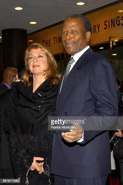 Joanna Shimkus and Sidney Poitier attend The Color Purple Opens on Broadway at The Broadway Theatre on December 1, 2005 in New York City.