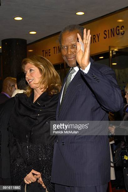 Joanna Shimkus and Sidney Poitier attend The Color Purple Opens on Broadway at The Broadway Theatre on December 1 2005 in New York City