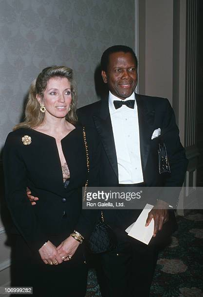 Joanna Shimkus and Sidney Poitier during 18th Annual Nosotros Golden Eagle Awards at Beverly Hilton Hotel in Beverly Hills California United States
