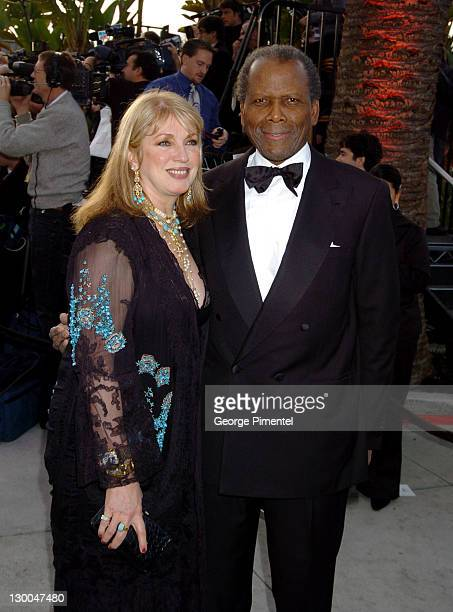 Joanna Shimkus and Sidney Poitier during 2004 Vanity Fair Oscar Party Arrivals at Mortons in Beverly Hills California United States