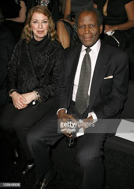 Joanna Shimkus and Sidney Poitier during Giorgio Armani Prive in LA Front Row at Green Acres in Los Angeles California United States