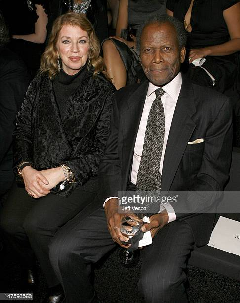 Joanna Shimkus and Sidney Poitier during Giorgio Armani Prive in L.A. - Front Row at Green Acres in Los Angeles, California, United States.