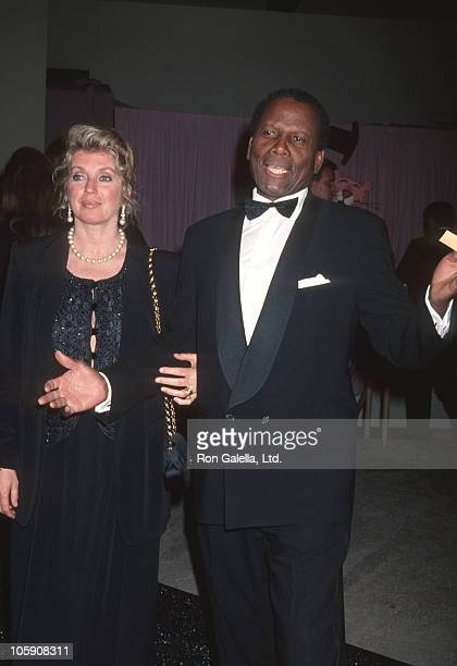 Joanna Shimkus and Sidney Poitier during Henry Mancini 70th Birthday Tribute at UCLA's Pauley Pavalion in Westwood California United States