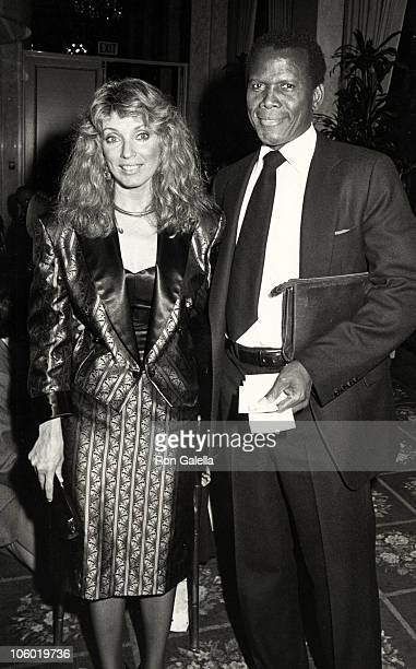 Joanna Shimkus and Sidney Poitier during Neighborhood of Watts Benefit Dinner at Beverly Wilshire Hotel in Beverly Hills California United States