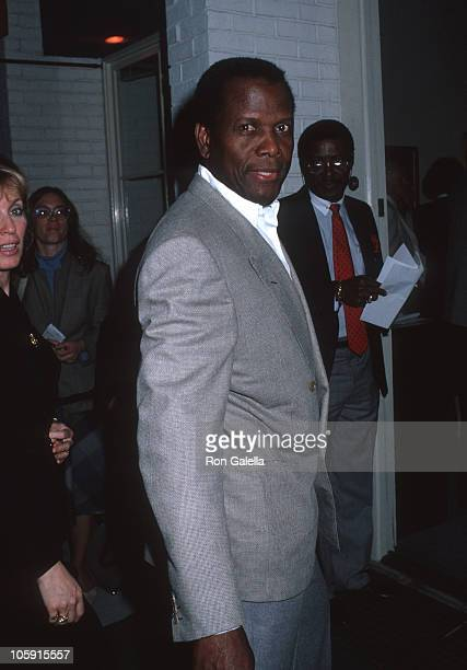 Joanna Shimkus and Sidney Poitier during Norris Church Art Exhibition March 22 1989 at Madison Galleries in Hollywood California United States