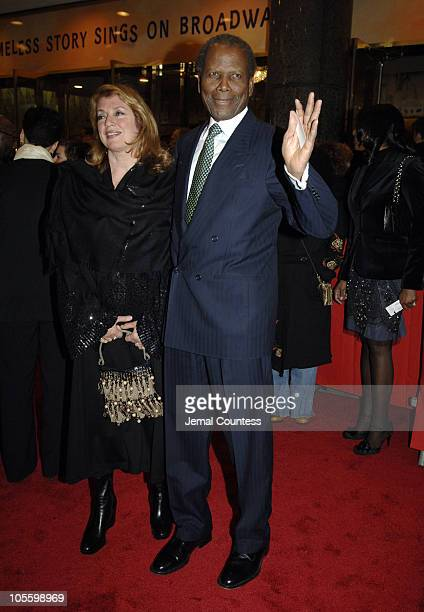 """Joanna Shimkus and Sidney Poitier during """"The Color Purple"""" Broadway Opening Night - Outside Arrivals at The Broadway Theatre in New York City, New..."""