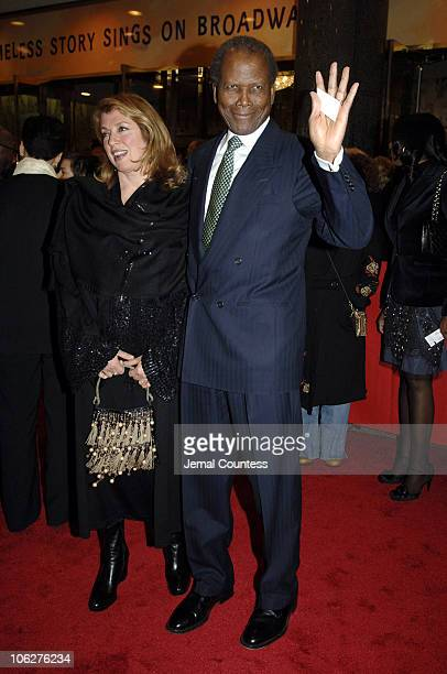 Joanna Shimkus and Sidney Poitier during The Color Purple Broadway Opening Night Outside Arrivals at The Broadway Theatre in New York City New York...