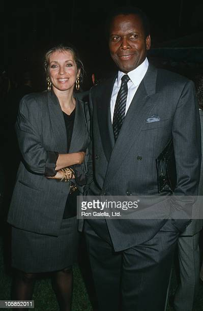 Joanna Shimkus and Sidney Poitier during USA Today's 5th Anniversary Party at Culver Studios in Culver City California United States