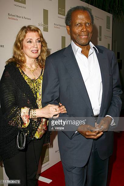 Joanna Shimkus and Sidney Poitier during Wolfgang Puck Cut Steakhouse Opening at Regent Beverly Wilshire in Beverly Hills California United States