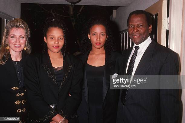 Joanna Shimkus daughters and Sidney Poitier during 1989 United Negro College Fund Awards in Los Angeles California United States