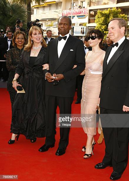 Joanna Shimkus Sidney Poitier Juliette Binoche and guest at the Palais de Festival in Cannes France