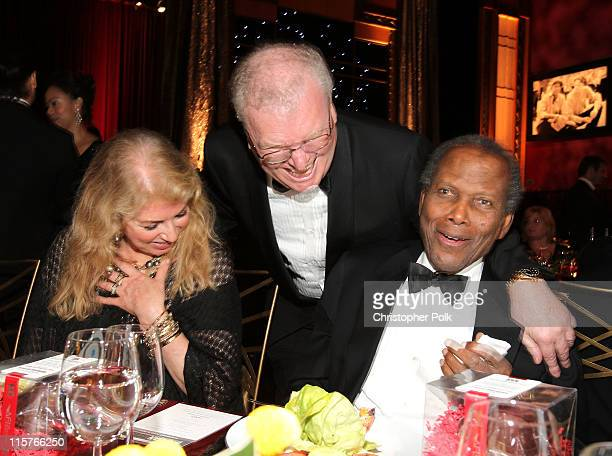 Joanna Shimkus, Sony Corporation Chairman, CEO and President Sir Howard Stringer and actor Sidney Poitier attend the 39th AFI Life Achievement Award...