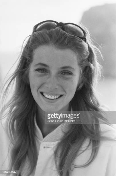 Joanna Shimkus sur le tournage du film 'Boom' réalisé par Joseph Losey en Sardaigne en mars 1967 Italie
