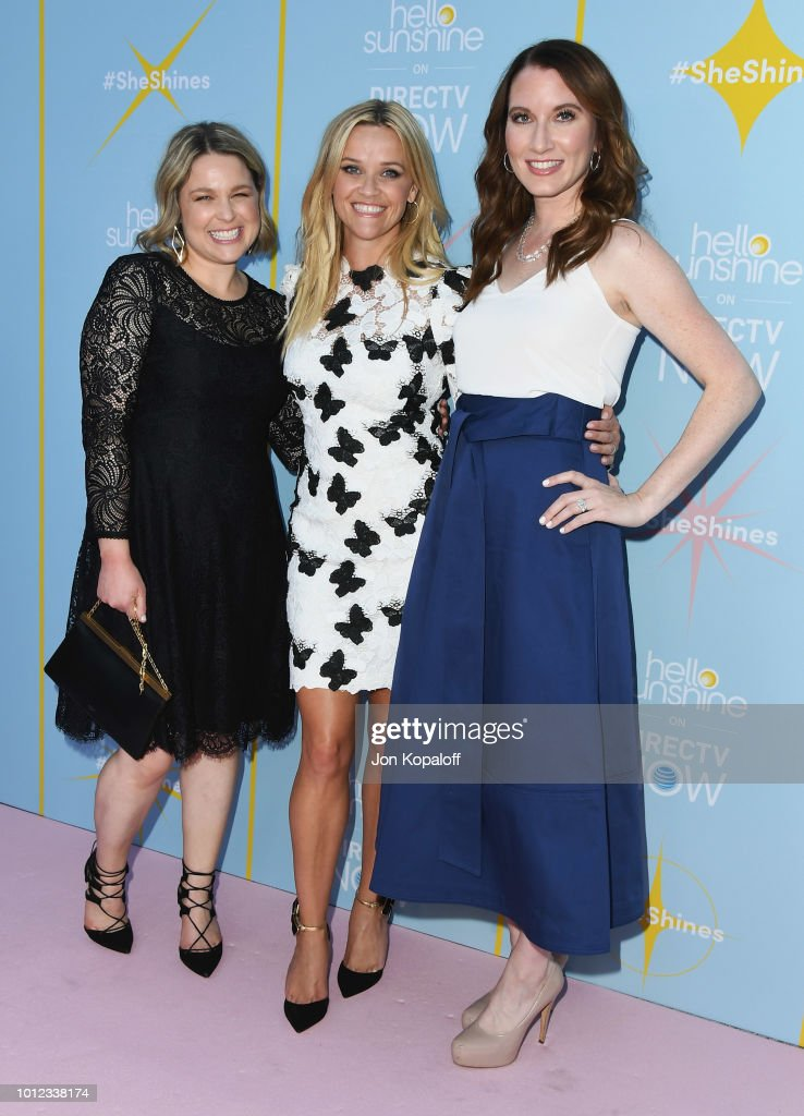 Joanna Teplin, Reese Witherspoon and Clea Shearer attend AT&T & Hello Sunshine Celebrate The Launch Of 'Shine On With Reese' at NeueHouse Hollywood on August 6, 2018 in Los Angeles, California.