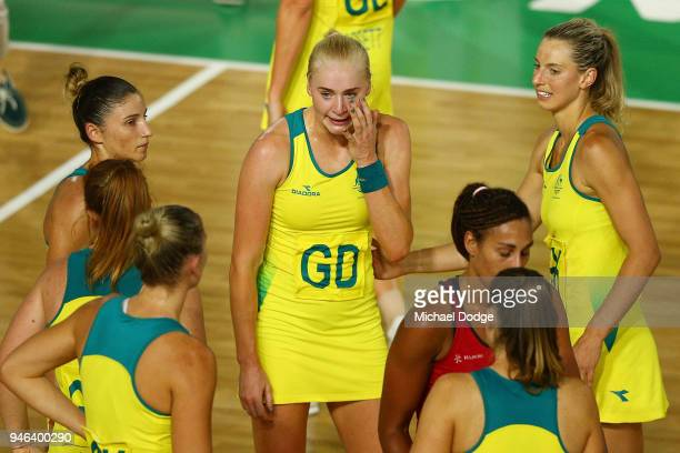 Joanna Weston of Australia shows her emotion following the Netball Gold Medal Match on day 11 of the Gold Coast 2018 Commonwealth Games at Coomera...