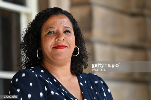 Joanne Anderson poses for a photograph in the Town Hall in Liverpool, north-west England on May 10 after becoming Liverpool City's new mayor. -...