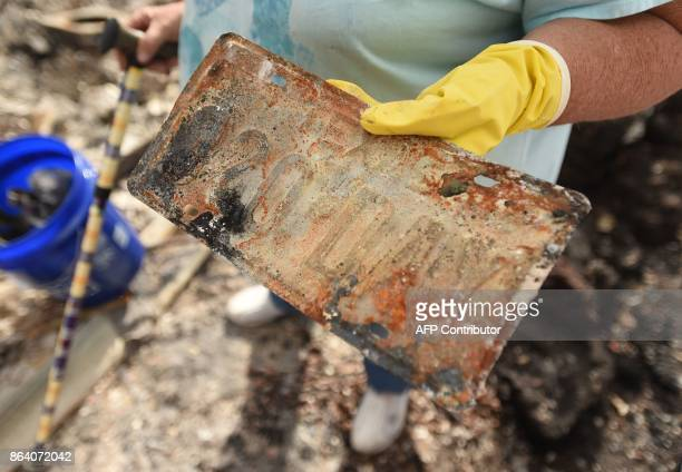 Joanne Bartlett holds a license plate found at her burned residence in the Coffey Park area of Santa Rosa California on October 20 2017 Residents are...