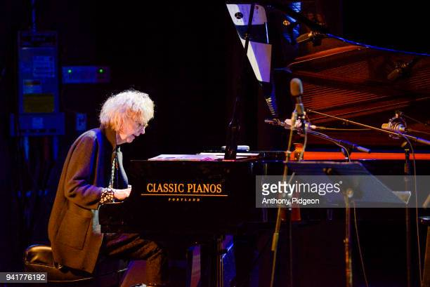 Joanne Brackeen of Jazz By 5 performs on stage at Revolution Hall as part of the PDX Jazz Festival in Portland Oregon USA on 25th February 2018