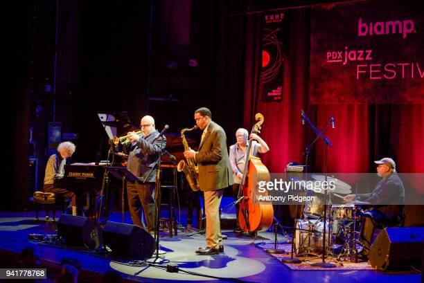 Joanne Brackeen Randy Brecker Javon Jackson Eddie Gomez Jimmy Cobb of Jazz By 5 on stage at Revolution Hall as part of the PDX Jazz Festival in...