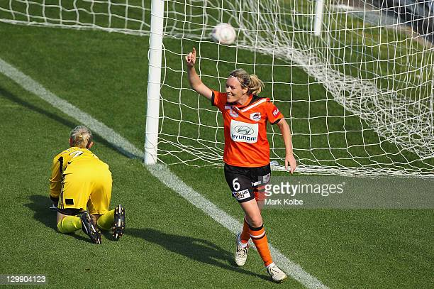 Joanne Burgess of the Roar celebrates scoring a goal during the round one W-League match between Sydney FC and Brisbane Roar at Leichhardt Oval on...