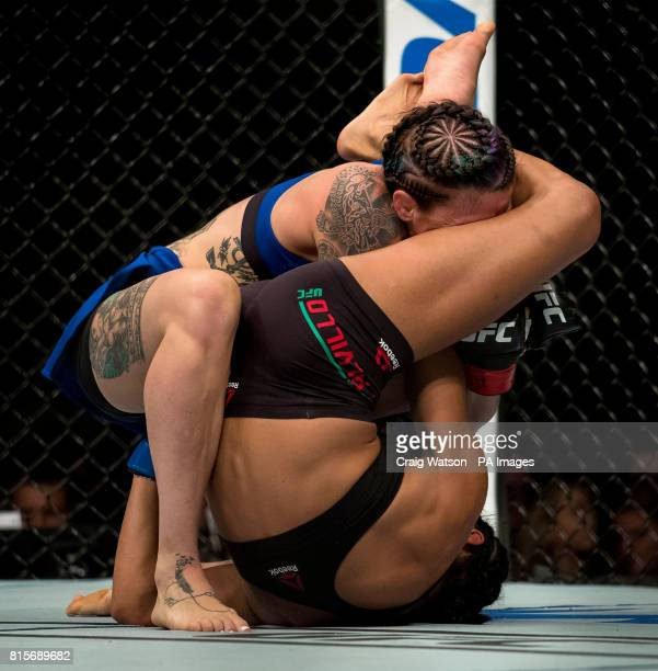 Joanne Calderwood beaten by Cynthia Calvillo in Strawweight Bout during the UFC Fight Night at the SSE Hyrdo Glasgow