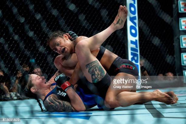 Joanne Calderwood is defeated by Cynthia Calvillo in their strawweight bout during the UFC Fight Night at the SSE Hyrdo Glasgow PRESS ASSOCIATION...