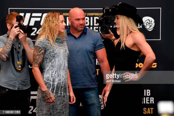 Joanne Calderwood of Scotland and Andrea Lee face off during the UFC 242 Ultimate Media Day at the Yas Hotel on September 5 2019 in Abu Dhabi United...