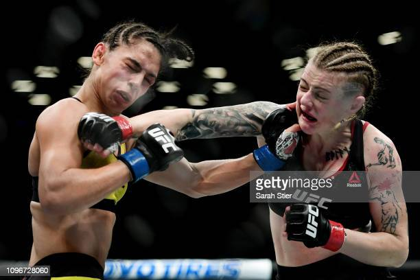 Joanne Calderwood of Scotland fights against Ariane Lipski of Brazil during their Women's Flyweight fight at UFC Fight Night at Barclays Center on...