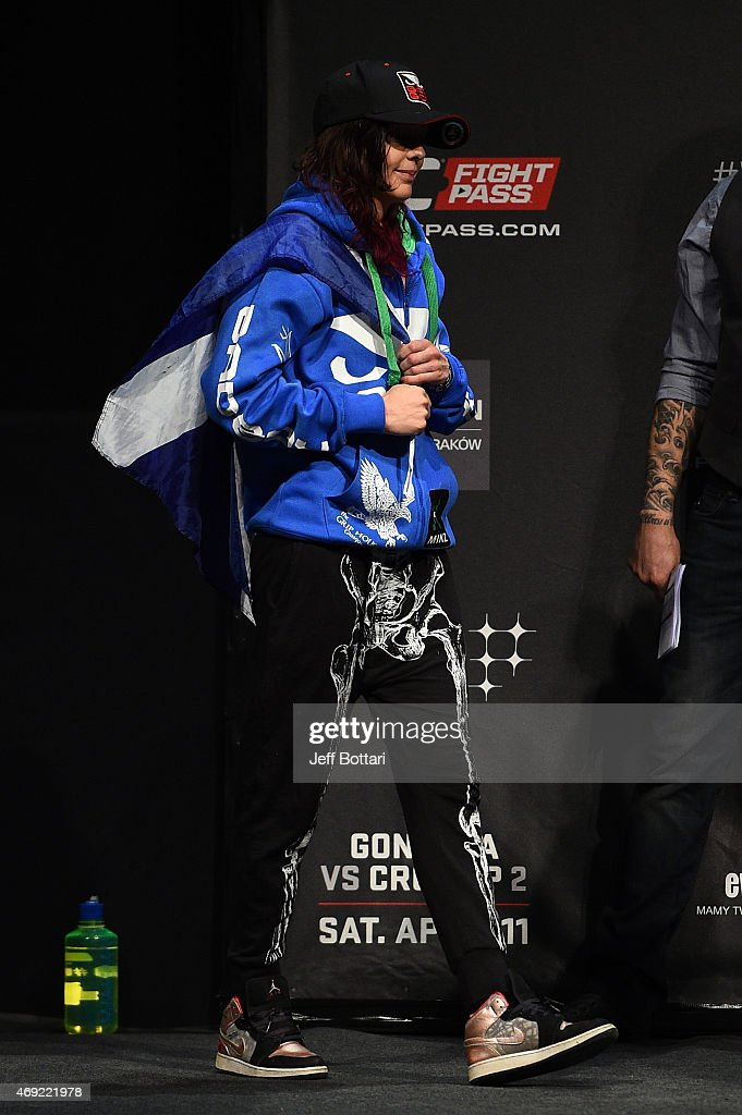 Joanne Calderwood of Scotland prepares to weigh in during the UFC Fight Night weigh-in at the Tauron Arena on April 10, 2015 in Krakow, Poland.