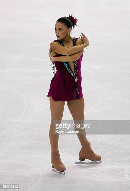 Joanne Carter of Australia performs during the women's Short Program of the figure skating during Day 11 of the Turin 2006 Winter Olympic Games on...