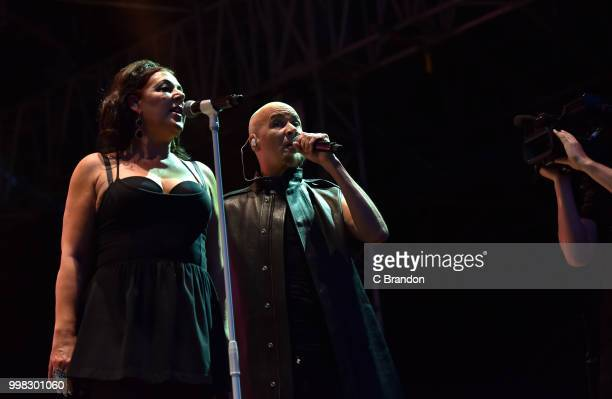 Joanne Catherall and Philip Oakey of The Human League perform on stage during Day 4 of Kew The Music at Kew Gardens on July 13 2018 in London England