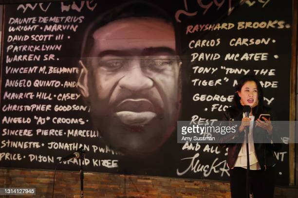 Joanne Chew speaks at a candlelight vigil for Andrew Brown, Ma'khia Bryant and Daunte Wright at The Laugh Factory on April 23, 2021 in West...