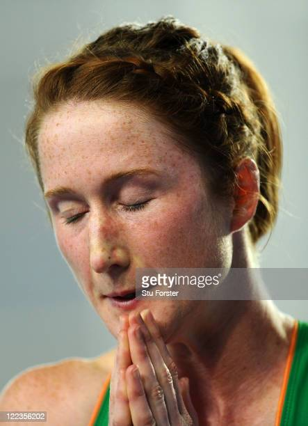 Joanne Cuddihy of Ireland reacts after being disqualified from her women's 400 metres semi finals during day two of the 13th IAAF World Athletics...