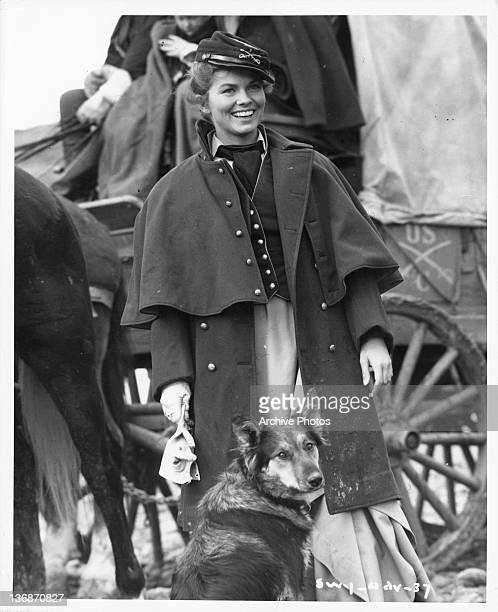 Joanne Dru standing with a dog next to a stagecoach in a scene from the film 'She Wore A Yellow Ribbon' 1949