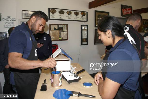 Joanne Fanene and Patrick Tuipulotu from Auckland paint their letterbox during the Mitre 10 Cup an Farrah Palmer Cup Season Launch at the Eden Park...