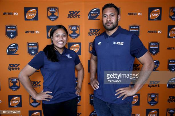Joanne Fanene and Patrick Tuipulotu from Auckland pose for a portrait during the Mitre 10 Cup an Farrah Palmer Cup Season Launch at the Eden Park...