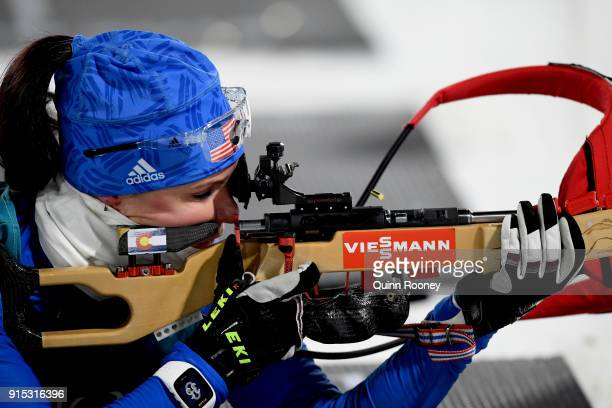 Joanne Firesteel Reid of The United States in action during Biathlon Women's 75km Sprint Official Training ahead of the PyeongChang 2018 Winter...