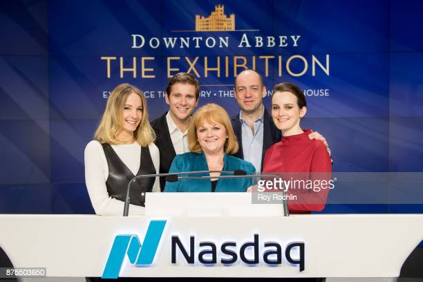 Joanne Froggatt Allen Leech Lesley Nicol Gareth Neame and Sophie McShera from the cast of Downton Abbey ring the Nasdaq Stock Market Closing Bell at...